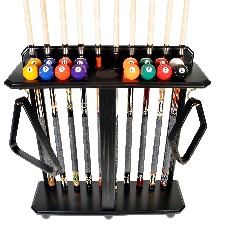 Cuesoul 8 Cue Stick Pool Table Billiard Wall Rack Tan Free Shipping