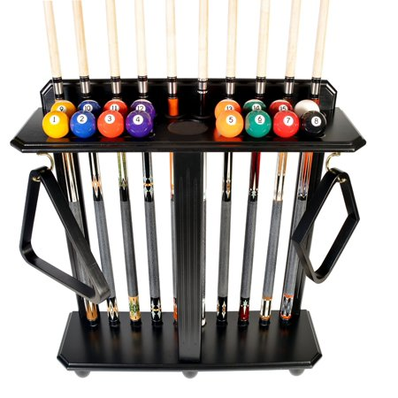 Cue Rack Only- 10 Pool - Billiard Stick And Ball Set Floor - Stand Black Finish