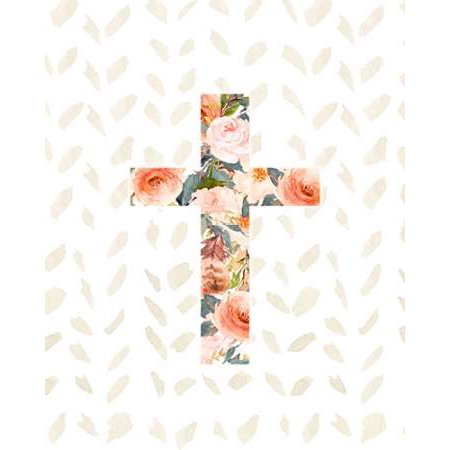 Orange Floral Cross Stretched Canvas - Tara Moss (8 x 10)