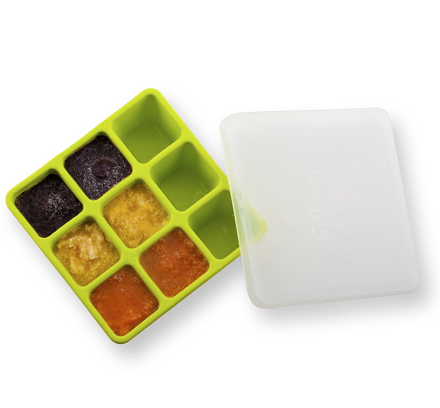 Garden Fresh Freezer Tray with Lid, Colors May Vary, Freezer tray features nine 1 oz. compartments for storing baby food By Nuby