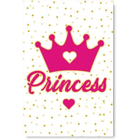 Awkward Styles Baby Girl Room Decor Princess Crown Illustration Girls Room Wall Art Pink Decals Baby Girl Room Decorations Princess's Room Girls Play Room Wall Decor Pink Poster Decor Ideas ()