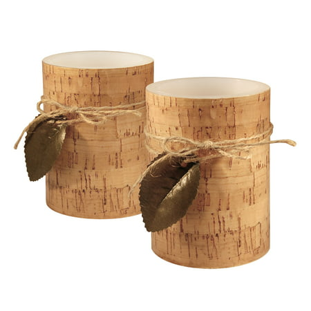 """Set of 2 Decorative Cork Pillar Candles with Green Leaf 4"""""""