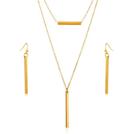 - Gold Tone Double Layer Bar Necklace and Earrings Jewelry Set