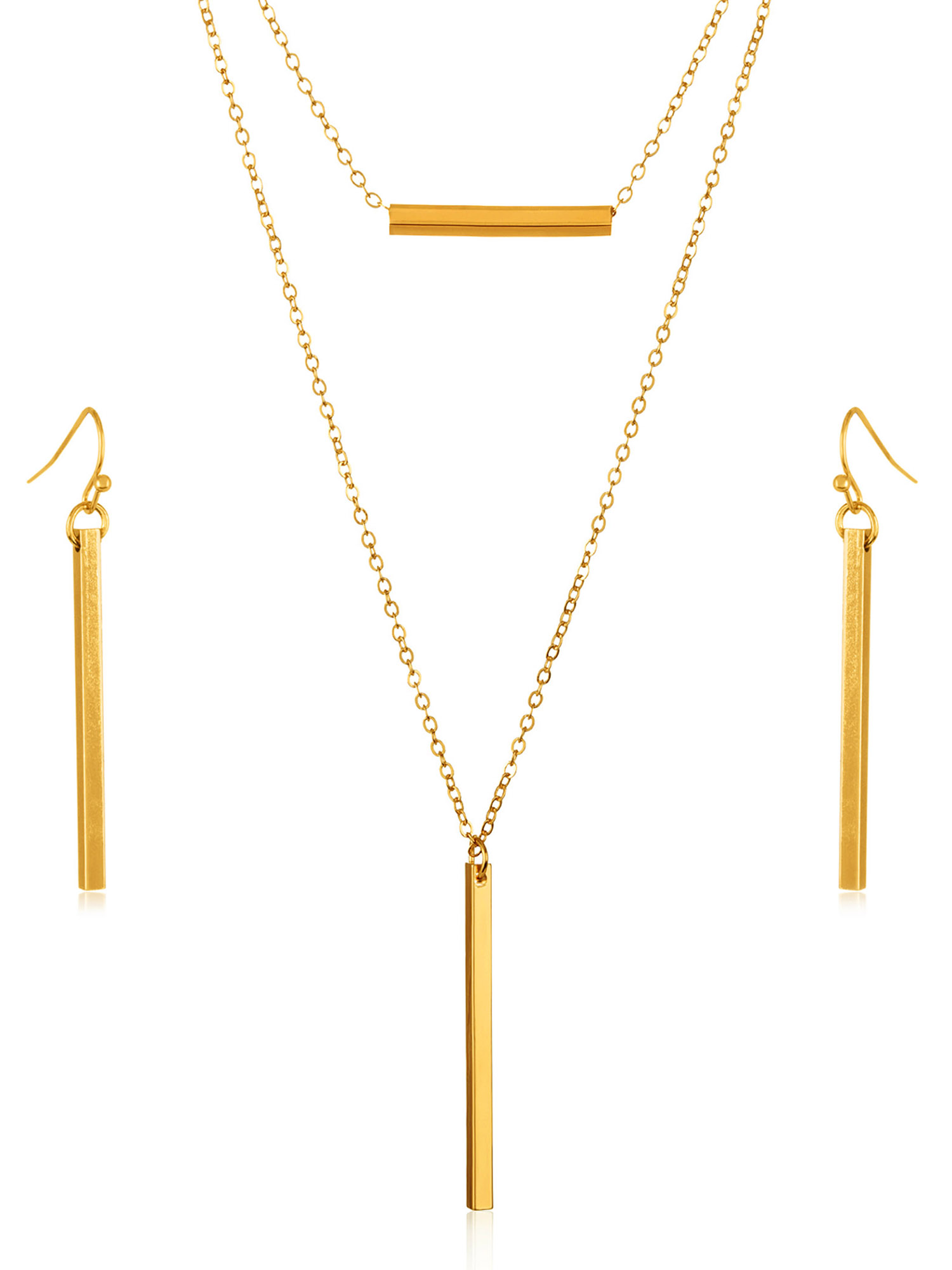 Gold Tone Double Layer Bar Necklace and Earrings Jewelry Set