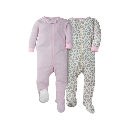 Gerber Footed Tight-fit Unionsuit Pajamas, 2pk (Baby - Baby Girl Holiday Pajamas