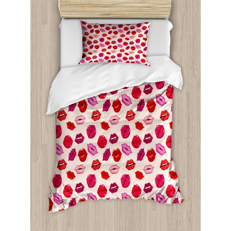 Kiss Twin Size Duvet Cover Set  Vivid Colored Sexy Lips Glamour Fashion Cosmetics Make Up Theme Girls Pattern  Decorative 2 Piece Bedding Set With 1 Pillow Sham  Pink Red Rose Peach  By Ambesonne