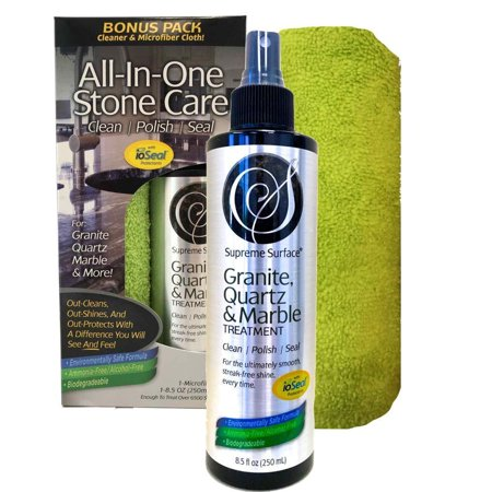 Supreme Surface Granite & Quartz, Cleaner, Polish and Sealer with ioSeal Protectants 8 fl (Best Granite Polish And Sealer)