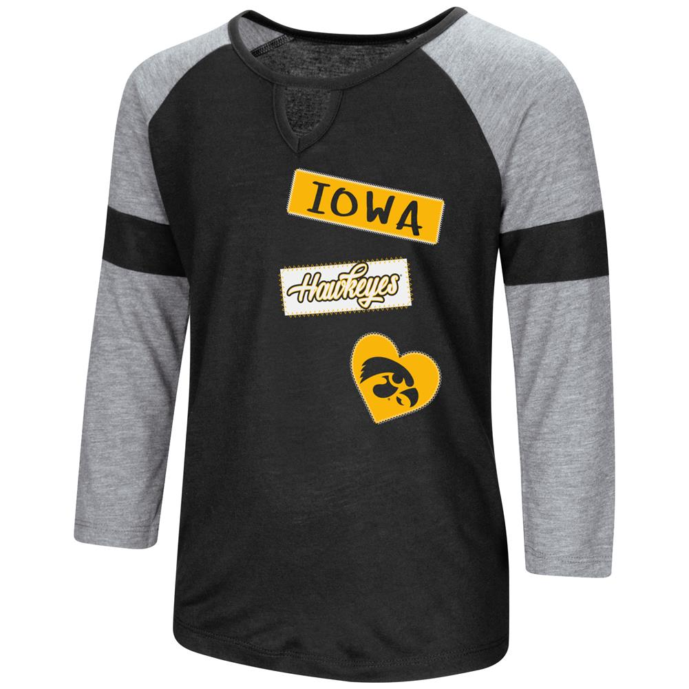 University of Iowa Hawkeyes Youth Girls 3/4 Sleeve All You Need Tee