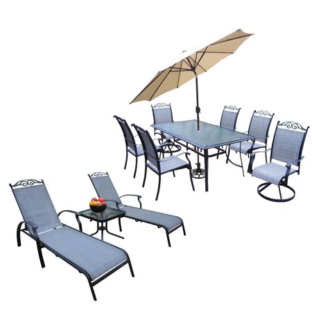 Oakland Living Cascade Aluminum 12 Piece Rectangular Patio Dining Set with