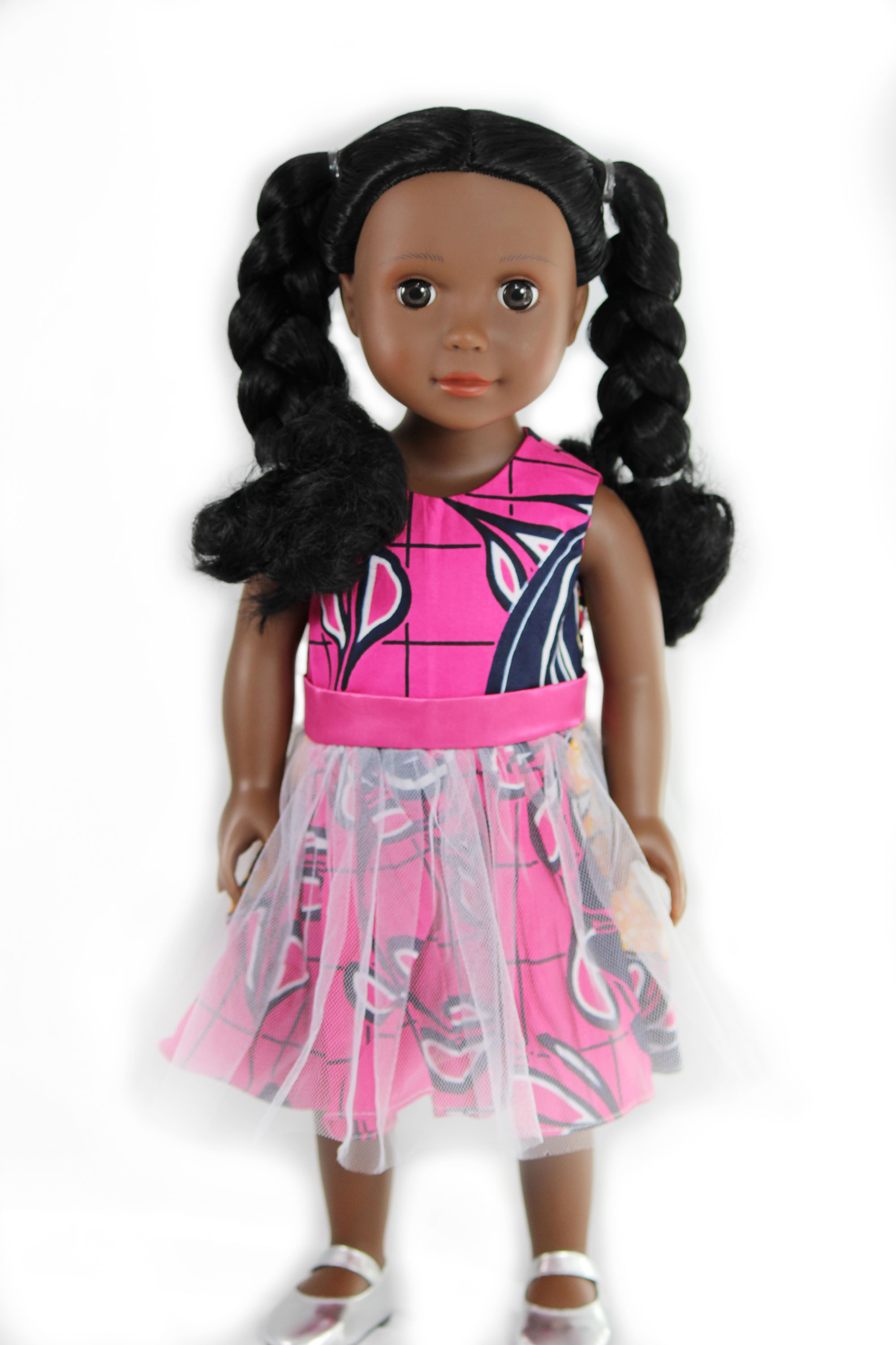 Ikuzi 18-inch Fashion Doll African American Doll With Braided Pigtails by