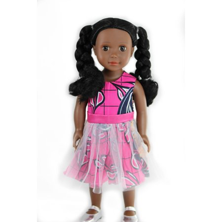 Ikuzi 18-inch Fashion Doll - African American Doll With Braided Pigtails