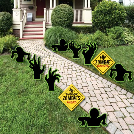 Zombie Zone - Sign and Zombie Hand Lawn Decorations - Outdoor Halloween or Birthday Zombie Crawl Party Yard - Having Birthday On Halloween