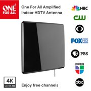 One For All 14432 Amplified Indoor Flat HDTV Antenna - Supports 4K 1080p