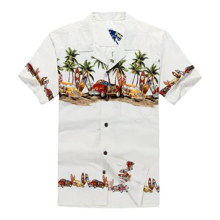Hawaiian Shirt Aloha Shirt in Off White Vintage Cars and Surf Boards