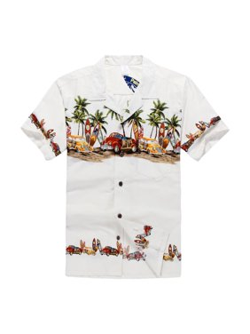 60af5176 Product Image Hawaiian Shirt Aloha Shirt in Off White Vintage Cars and Surf  Boards