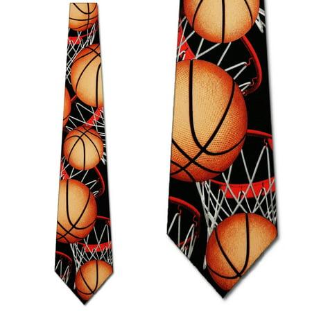 Basketball Zoned Necktie Black Mens tie by Ralph Marlin
