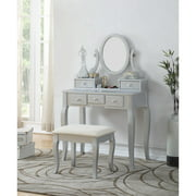 Roundhill Ashley Wood Make-Up Vanity Table and Stool Set, Silver