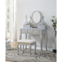 Roundhill Ashley Wood Makeup Vanity Table and Stool Set, Multiple Colors