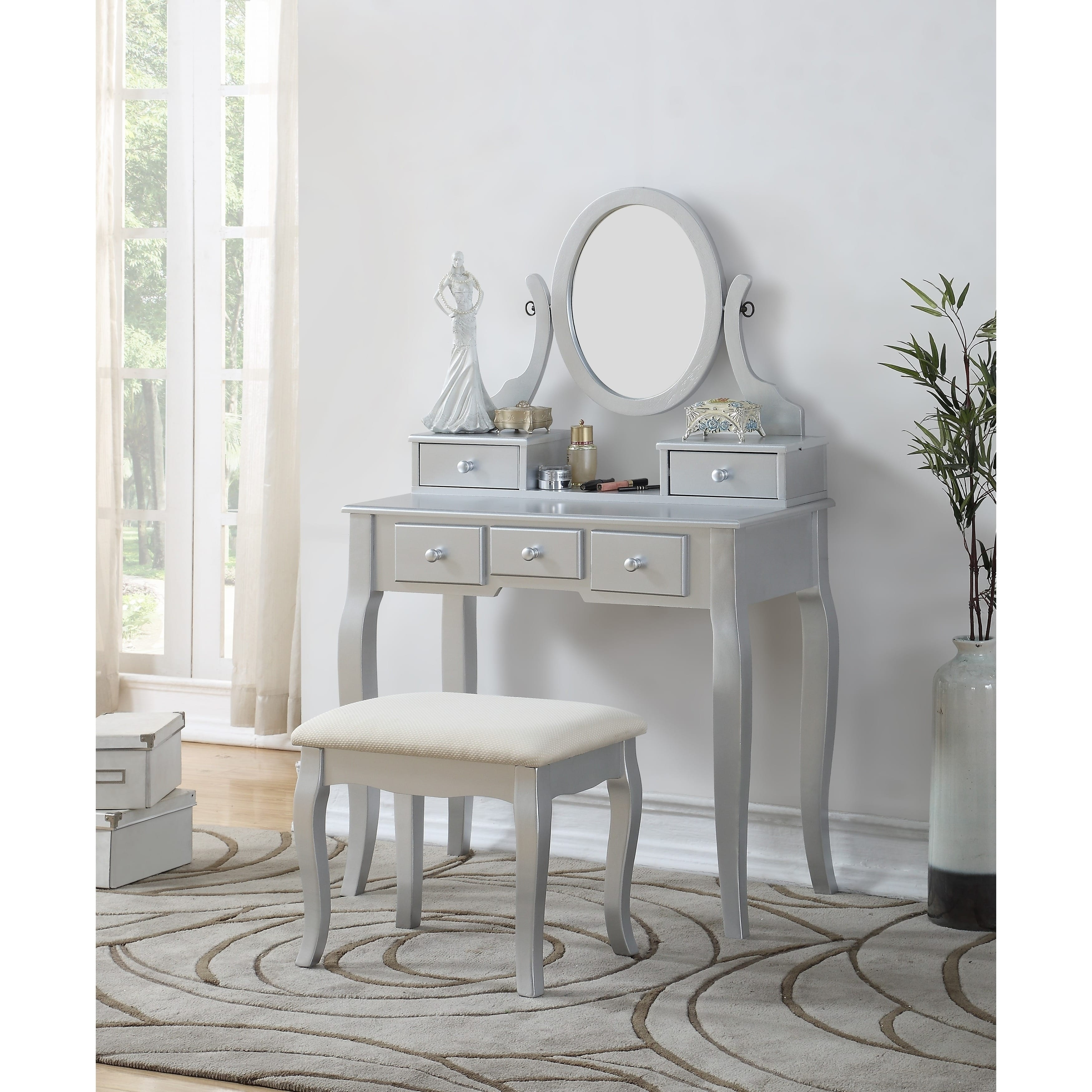 Roundhill Ashley Wood Make Up Vanity Table And Stool Set