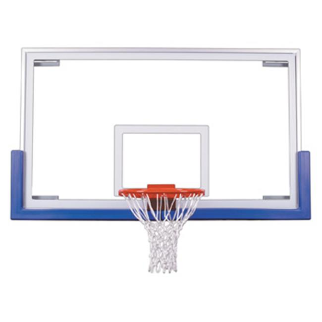 FT235 Tempered Glass 42 X 72 in. Unbreakable Short Glass Backboard, Royal Blue