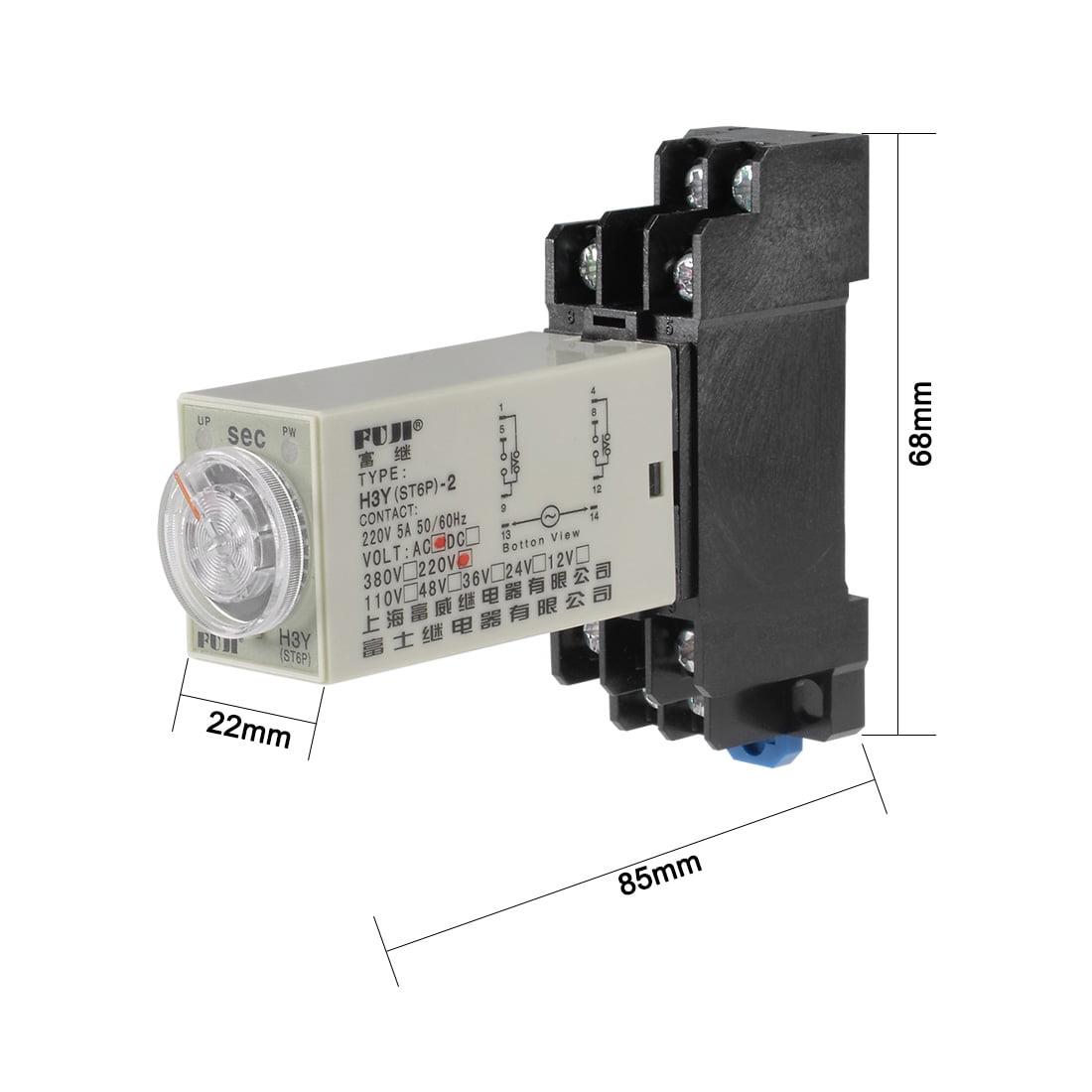 220VAC 60S 8 Terminals Range Adjustable Delay Timer Time Relay H3Y-2 w base - image 3 of 6