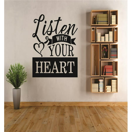 Custom Wall Decal Listen with your heart Quote Sticker Vinyl Wall 20x