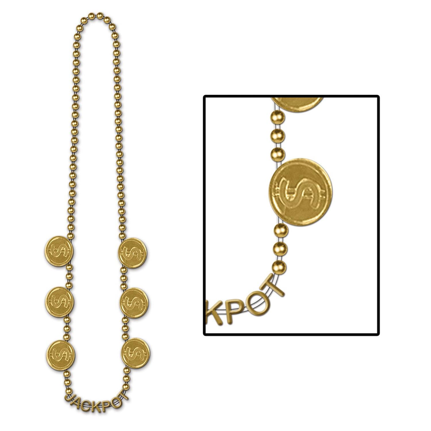 """Club Pack of 12 Shiny Gold """"Jackpot"""" Beaded Necklace Party Favors 36''"""