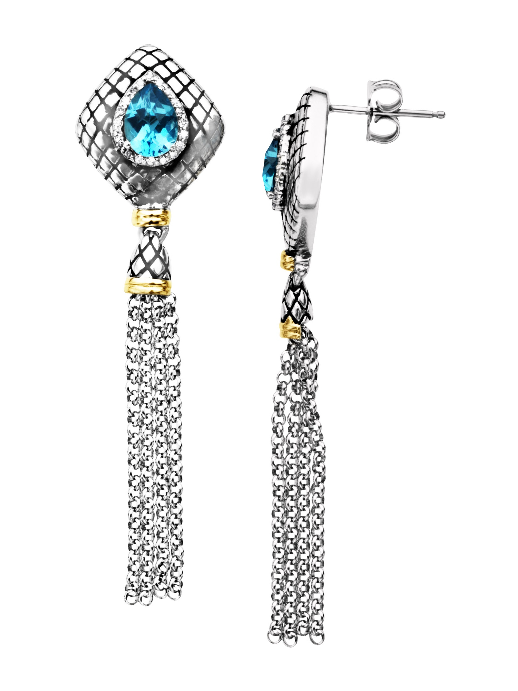 2 ct Natural Swiss Blue Topaz and 1 8 ct Diamond Drop Earrings in Sterling Silver and 14kt Gold by Richline Group