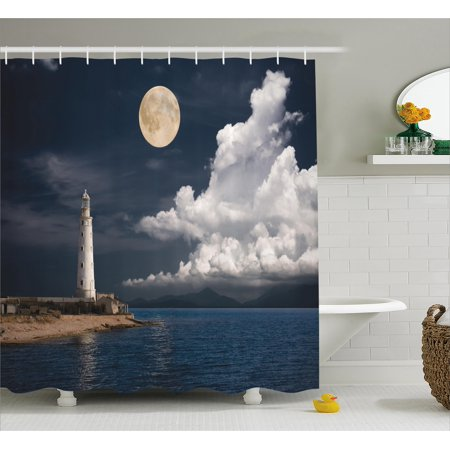 Seaside Bathroom Accessories (Lighthouse Decor Shower Curtain Set, Lighthouse At Moonlight Island Isle Large Clouds Sea Seaside Waterfront Night-Time Bay, Bathroom Accessories, 69W X 70L Inches, By)