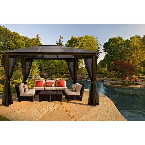 Sierra 10' x 13' Hard Top Gazebo with Mosquito Netting by Paragon Group USA