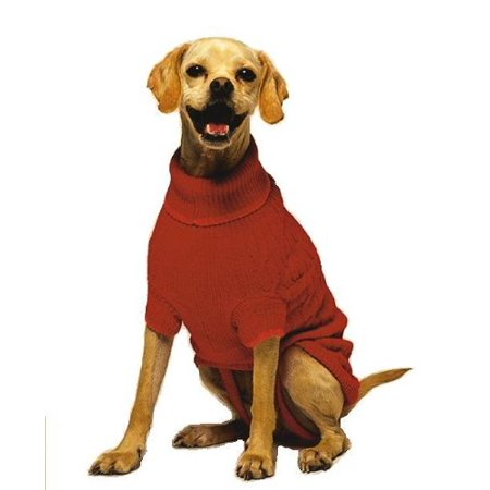 Classic Small Cable Dog Sweater, Red, 100-Percent acrylic; Machine wash in cold water, tumble dry low By Fashion Pet