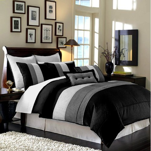 Chezmoi Collection 86 By 88 Inch 8 Piece Luxury Stripe Comforter Bed In A Bag Set Full Double Black White Grey