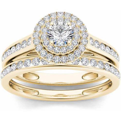 3/4 Carat T.W. Diamond Double Halo 10kt Yellow Gold Engagement Ring Set Tension Set Yellow Ring