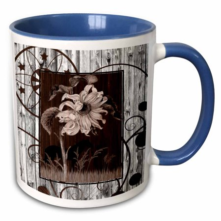 Cowgirl Silhouettes (3dRose Western horse and cowgirl silhouette with a vintage sunflower and white-washed barn wood - Two Tone Blue Mug,)