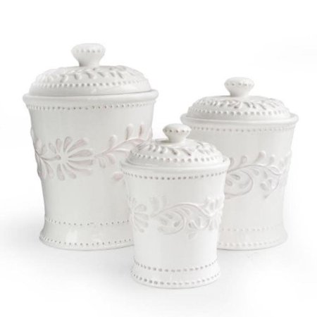 BIANCA LEAF 3 PC CANISTER SET 80oz., 48oz, -