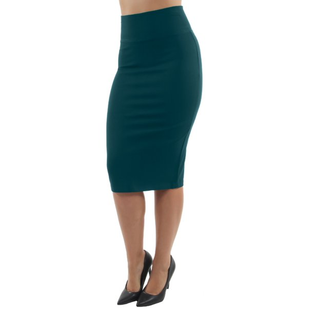 Pull-on Wide High Waist Bodycon Pencil Knee Length Stretch Midi Skirt
