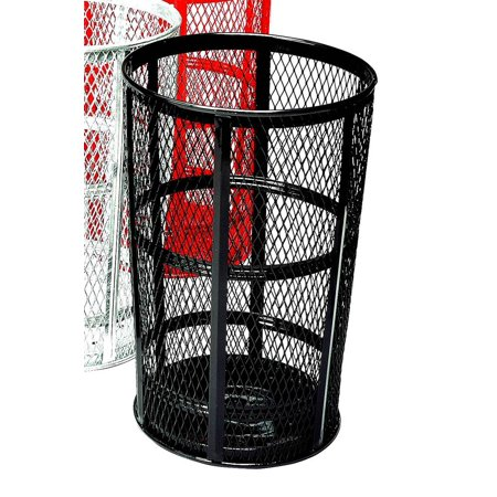 Outdoor Trash Receptacle - Mesh Steel Outdoor Trash Receptacle in Black Finish (w Name Plate/Blue)