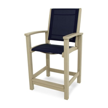 POLYWOOD 9011-SA902 Coastal Counter Chair in Sand / Navy Blue Sling - Navy Blue Sand