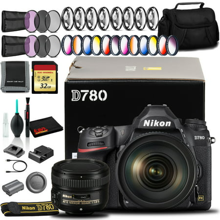 Nikon D780 DSLR Camera with 24-120mm, 50mm Lens, 32GB SD, and More (Intl Model)