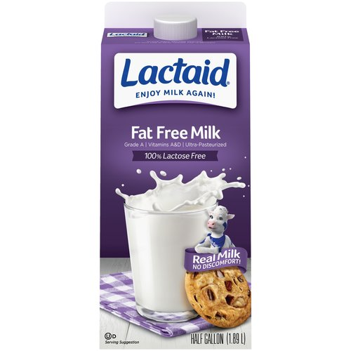 Lactaid 100% Lactose Free Fat Free Milk, .5 gal