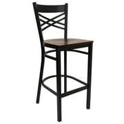 "Flash Furniture HERCULES Series Black ""X"" Back Metal Restaurant Barstool, Wood Seat, Multiple Colors"