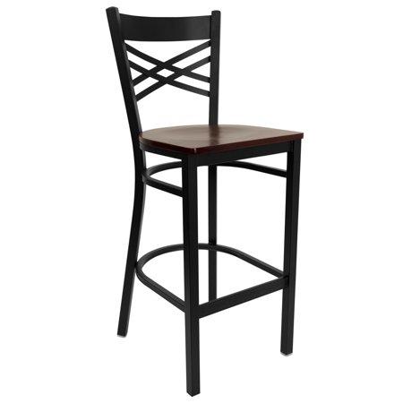Flash Furniture HERCULES Series Black ''X'' Back Metal Restaurant Barstool - Mahogany Wood Seat Black Wood Bar Stools