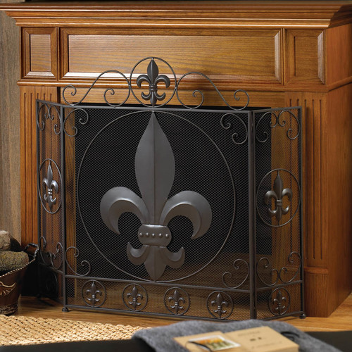 Home Locomotion Fleur-de-lis Fireplace Screen by Home Locomotion