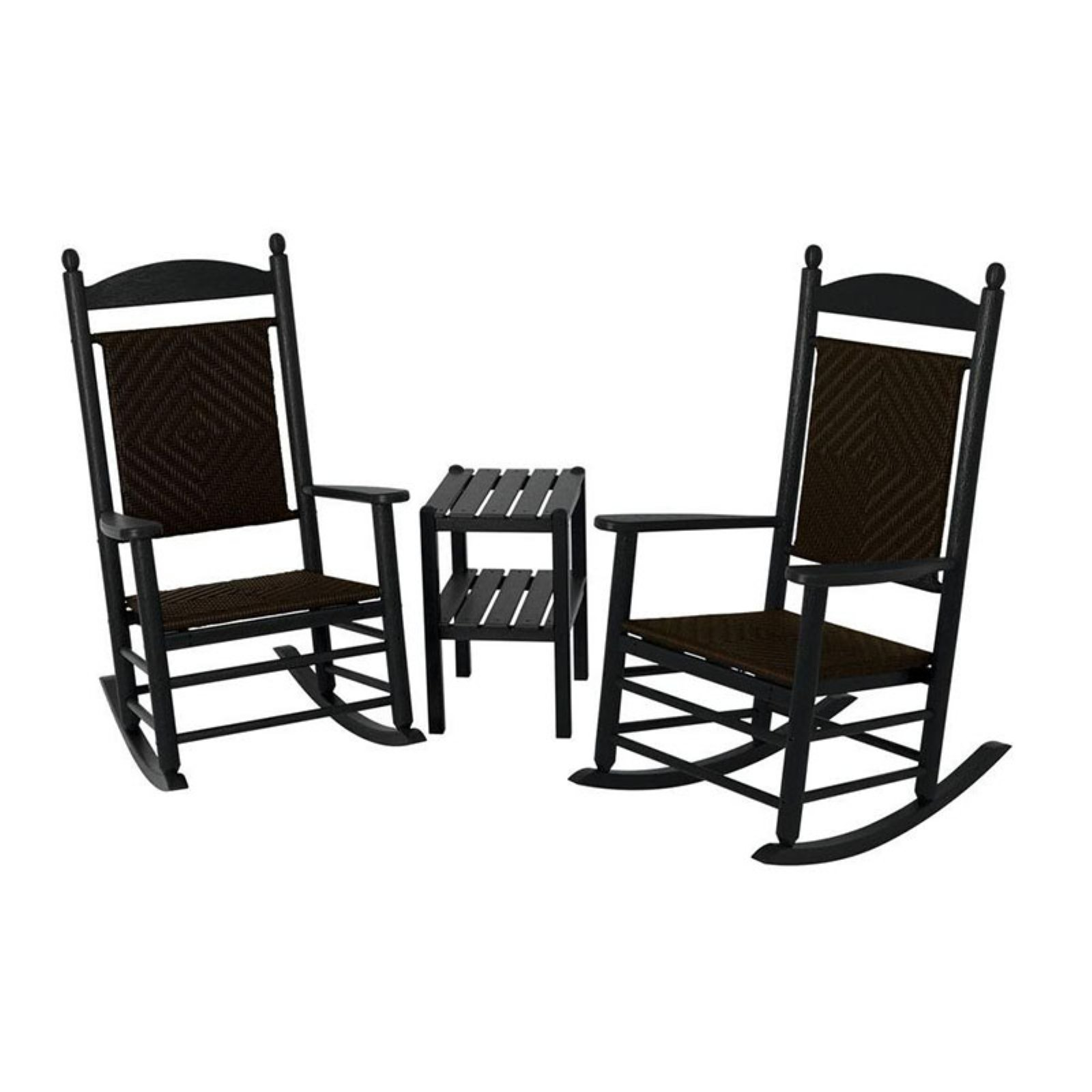 POLYWOOD® Jefferson 3 pc. Recycled Plastic Woven Rocker Set with Side Table