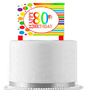CakeSupplyShop Item#AE-081 Happy 80th Birthday Rainbow Elegant Cake Decoration Topper