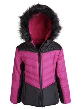 Rothschild Little Girls Down Alternative Quilted Chevron Puffer Jacket Coat