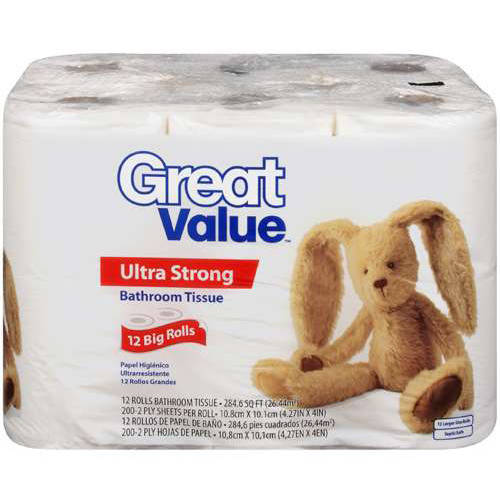 Great Value Ultra-Strong Bathroom Tissue, 12 count
