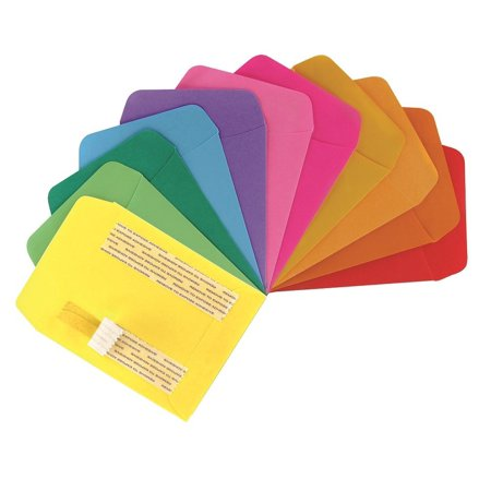 Hygloss Products Library Card Pockets, Self-Adhesive, 3.5 x 4.875 in, 30 Pockets, 10 Assorted Colors, LIBRARY POCKETS FOR CLASSROOM: Teachers use.., By Hygloss Products, Inc - Library Card Pockets