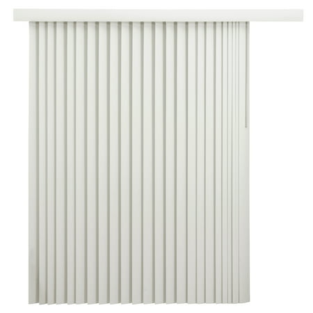 Fabric Vertical Blinds - Mainstays Room-Darkening Vertical Blinds with Embossed Leaf Pattern, Oyster