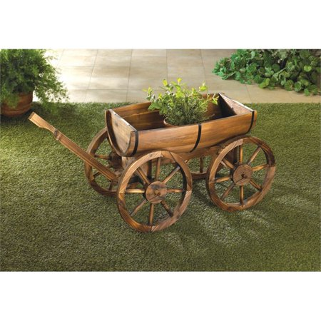 (Zingz and Thingz Apple Barrel Planter Wagon in Brown)